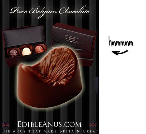 Dit is een afbeelding van chocolaatjes in de vorm van een anus