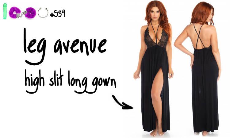 Dit is een afbeelding van leg avenue high slit long gown