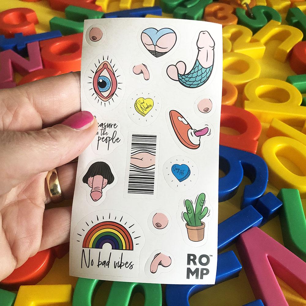 Dit is een afbeelding van stickers bij de romp vibrator collectie wow tech